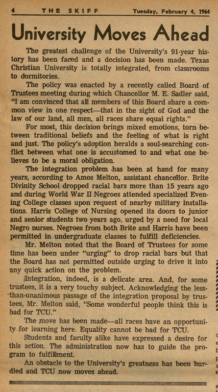 The University Moves Ahead, Skiff article, February 4, 1964