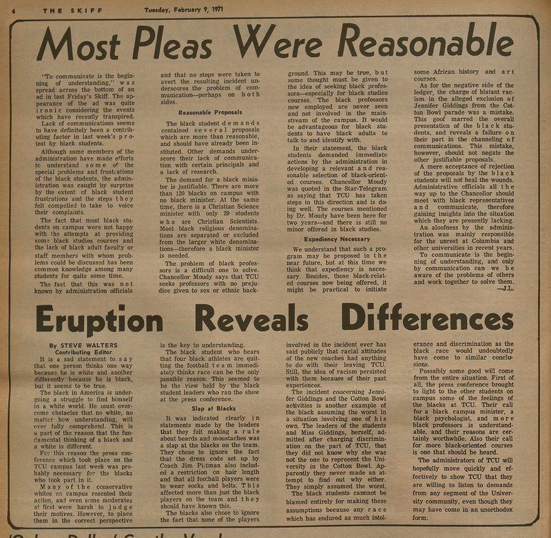 Most Pleas Were Reasonable, Eruption Reveals Differences, Skiff articles from February 9, 1971