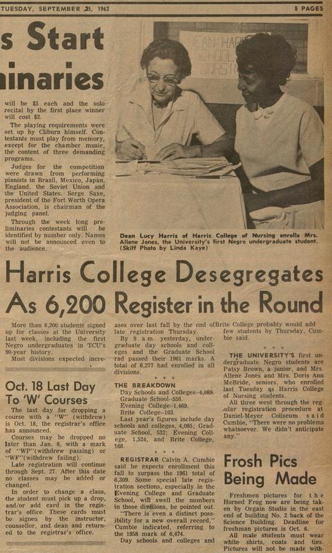 Harris College Desegregates as 6,200 Register in the Round