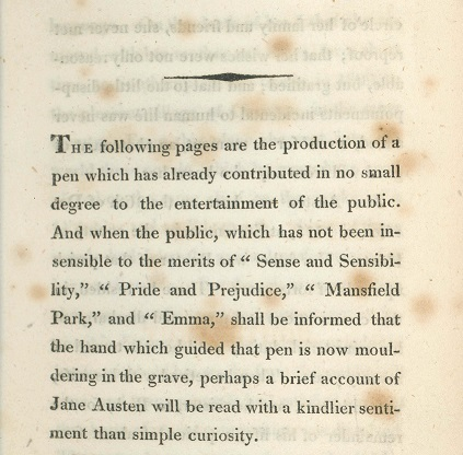 "Austen, Jane. ""Biographical Notice"" by Henry Austen in ""Northanger Abbey."" London: John Murray, 1818."