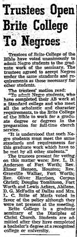 """Fort Worth Star-Telegram article, """"Trustees Open Brite College to Negroes,""""  September 7, 1952"""