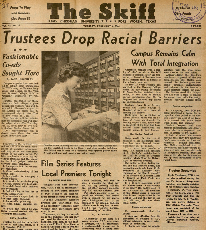 Trustees Drop Racial Barriers, The Skiff, February 4, 1964