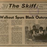 "The Skiff, February 5, 1971, ""Walkout Spurs Black Outcry"""