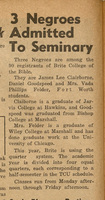 """Skiff article, """"3 Negroes attending seminary,"""" 9-26-1952"""