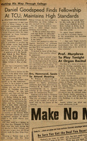 """""""Daniel Goodspeed Finds Fellowship at TCU; Maintains High Standards"""" Skiff article, 11-14-1952"""